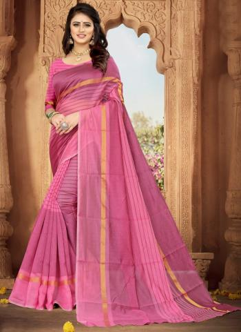 Casual Wear Pink Weaving Art Silk Saree