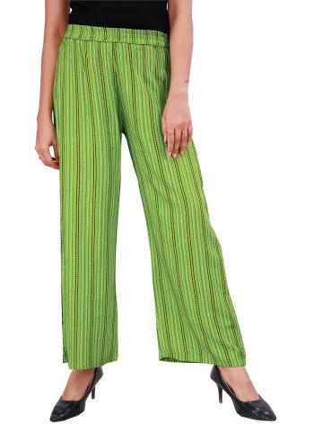 Daily Wear Green  Strip Rayon Plazzo