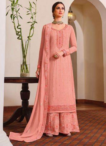 Wedding Wear Pink Embroidery Work Pure Chinnon Palazzo Suit