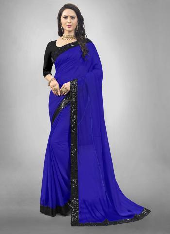 Party Wear Royal Blue Lace Work Georgette Saree