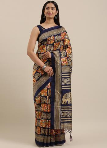 Party Wear Navy blue Weaving Art Silk Saree