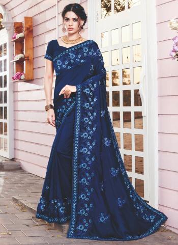 Wedding Wear Navy blue Embroidery Work Vichitra Silk Saree