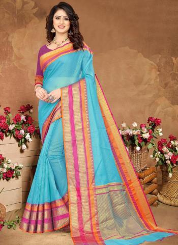 Casual Wear Sky blue Weaving Cotton Saree