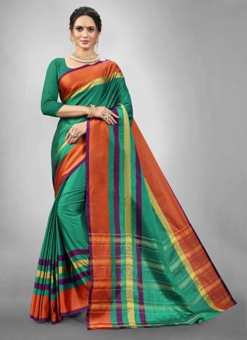 Festival Wear Green Weaving Aura Silk Saree