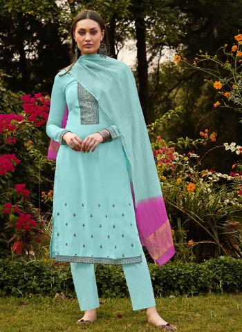 Traditional Wear Sky blue Embroidery Work Muslin Silk Palazzo Suit