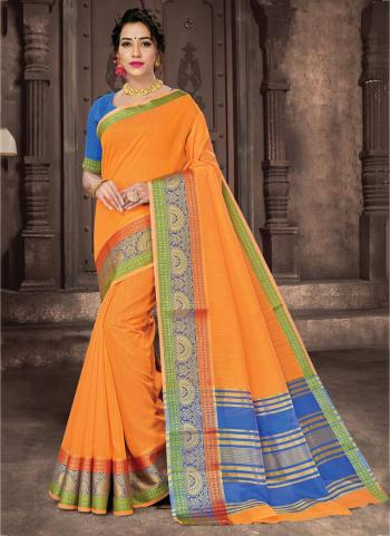 Festival Wear Orange Weaving Cotton Saree
