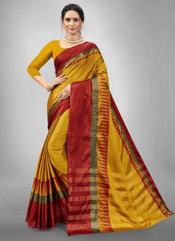 Traditional Wear Yellow Weaving Aura Silk Saree