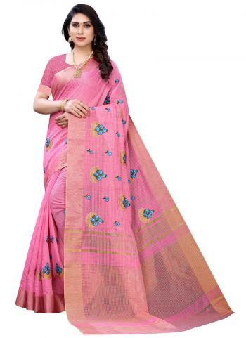Festival Wear Pink Weaving Linen Silk Saree
