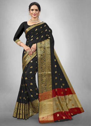 Casual Wear Black Weaving Dhupion Silk Saree