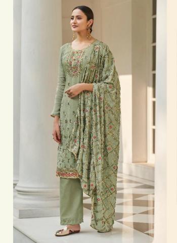 Festival Wear Green Embroidery Work Pure Chinnon Palazzo Suit