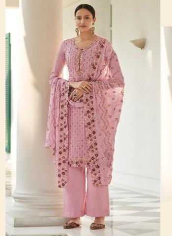 Traditional Wear Pink Embroidery Work Pure Chinnon Palazzo Suit
