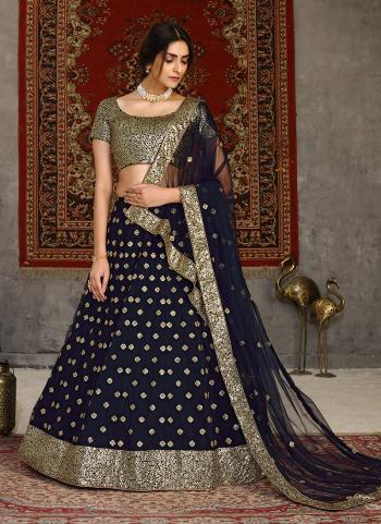 Wedding Wear Navy Blue Sequins Work Net Lehenga Choli