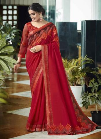 Party Wear Maroon Border Work Pure Vichitra Saree