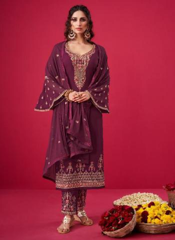 Wedding Wear Wine Embroidery Work Pure Georgette Straight Suit