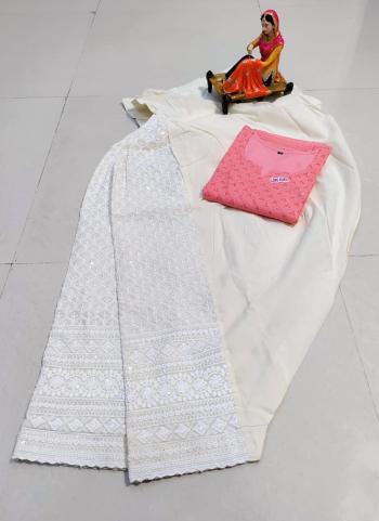 Traditional Wear Pink Chikan Work Pure Cotton Kurti With Patiyala