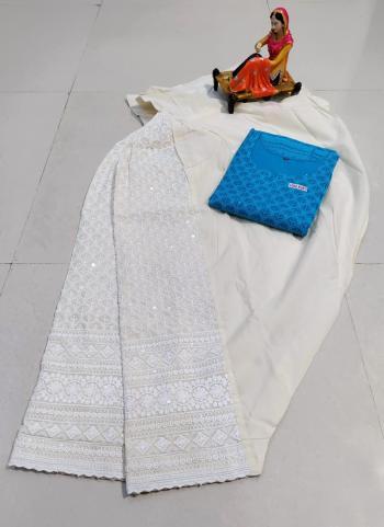 Traditional Wear Blue Chikan Work Pure Cotton Kurti With Patiyala