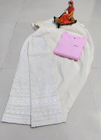 Traditional Wear Light Pink Chikan Work Pure Cotton Kurti With Patiyala