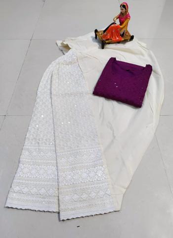 Traditional Wear Wine Chikan Work Pure Cotton Kurti With Patiyala