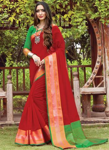 Casual Wear Red Handloom Cotton Saree