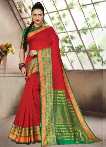 Daily Wear Red Weaving Cotton Saree