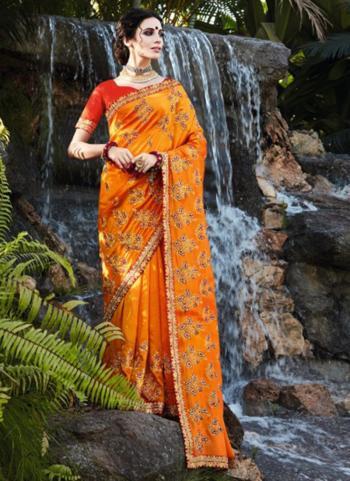 Wedding Wear Orange Embroidery Work Vichitra Silk Saree