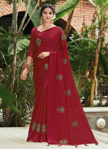 Festival Wear Maroon Swarovski Work Chinnon Silk Saree