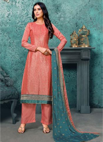 Traditional Wear Peach Sequins Work Pure Chinnon Palazzo Suit