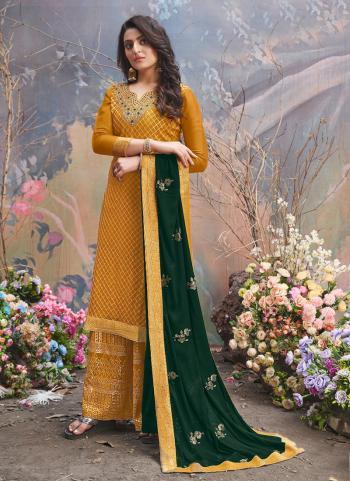Wedding Wear Musterd Sequins Work Pure Viscose Palazzo Suit