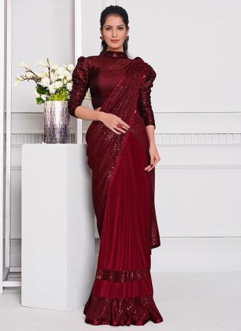 Party Wear Maroon Sequins Work Lycra Saree