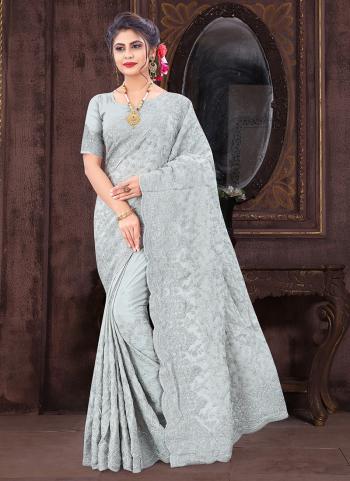 Wedding Wear Grey Resham Work Chinnon Silk Saree