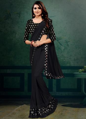 Party Wear Black Sequins Work Lycra Saree
