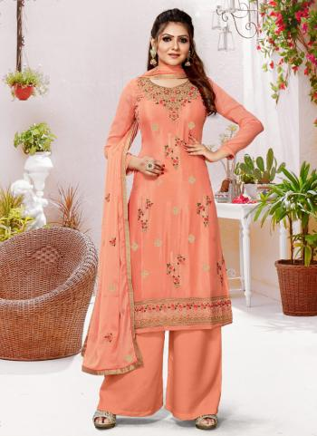 Traditional Wear Peach Embroidery Work Pure Viscose Palazzo Suit
