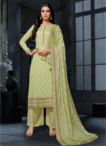 Traditional Wear Olive Green Embroidery Work Georgette Palazzo Suit
