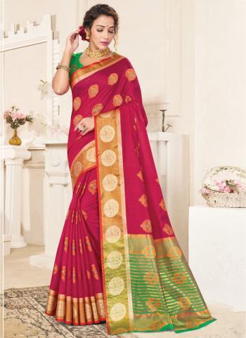 Casual Wear Rani Handloom Cotton Saree