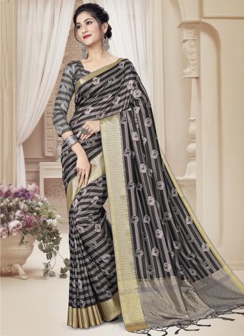 Party Wear Grey Zari Weaving Art Silk Saree