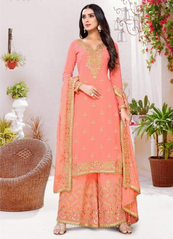 Traditional Wear Peach Embroidery Work Georgette Palazzo Suit