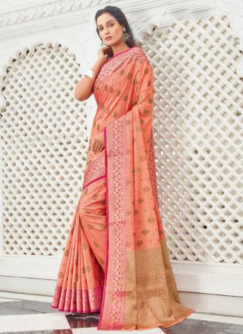 Traditional Wear Peach Weaving Work Cotton Saree