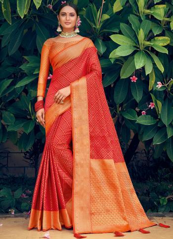 Traditional Wear Red Weaving Work Patola Silk Saree