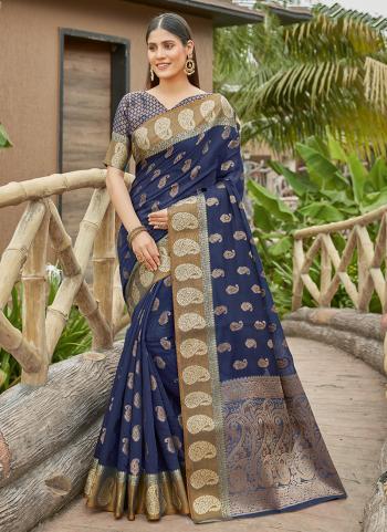 Festival Wear Navy Blue Weaving Work Silk Saree