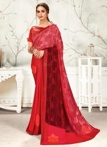 Party Wear Rani Embroidery Work Fancy Saree