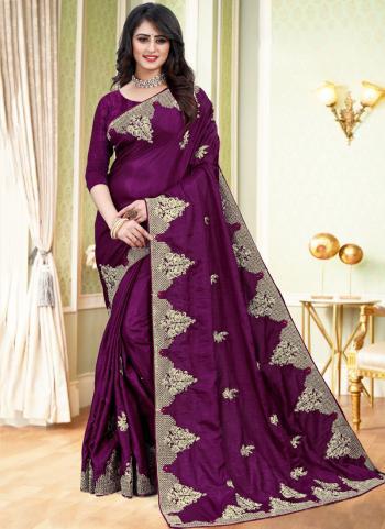Traditional Wear Wine Embroidery Work Dola Silk Saree