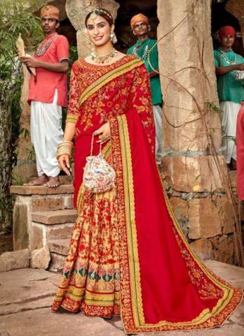 Wedding Wear Red Embroidery Work Silk Saree