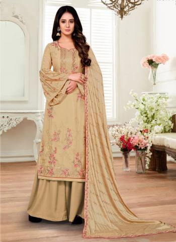 Traditional Wear Beige Sequins Work Pure Chinnon Palazzo Suit