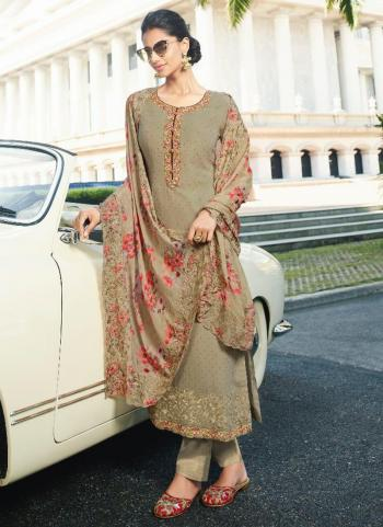 Party Wear Olive Green Embroidery Work Pure Georgette Salwar Suit