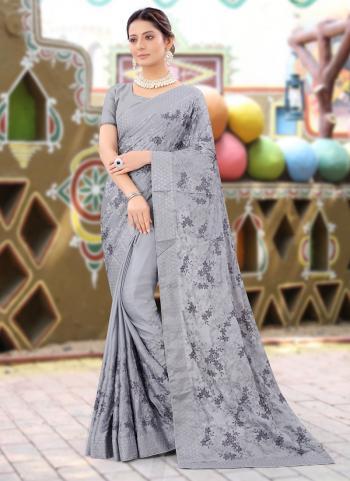 Party Wear Grey Resham Work Chinnon Saree