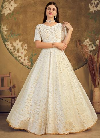 Party Wear White Foil Printed Work Net Gown