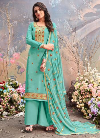 Traditional Wear Turquoise Blue Embroidery Work Pure Upada Viscose Palazzo Suit
