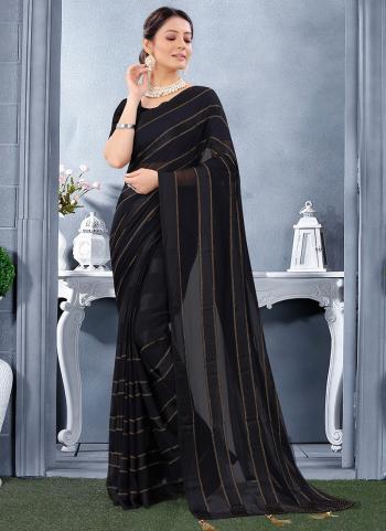 Reception Wear Black Swarovski Work Georgette Satin Saree