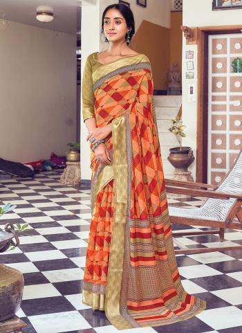 Casual Wear Orange Printed Work Cotton Saree