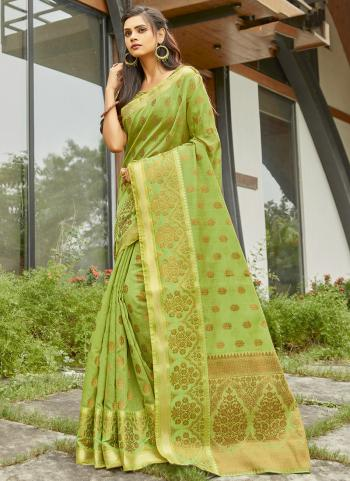 Party Wear Light Green Handloom Work Cotton Saree